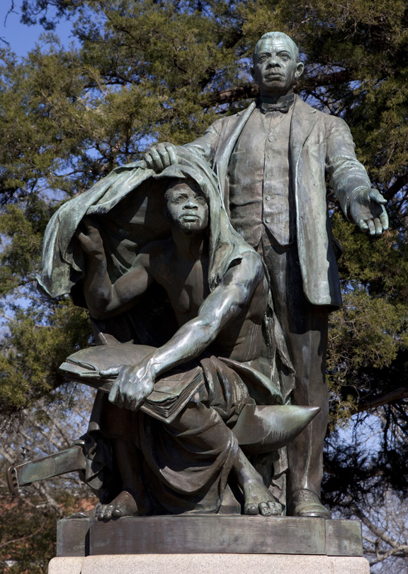 Statue of Booker T. Washington, entitled 'Lifting the Veil of Ignorance' (by Charles Keck) at Tuskegee University, Tuskegee, Alabama, 2010. (Photo by Carol M. Highsmith/Buyenlarge/Getty Images)