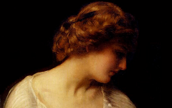 Detail of painting, Contemplation, By Thomas Benjamin Kenning